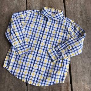 Janie and Jack Roll Cuff Lemon Plaid Dress Shirt 3